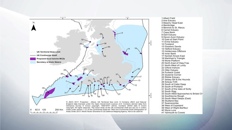 The full list and location of the 41 new Marine Controlled Zones. Pic: DEFRA