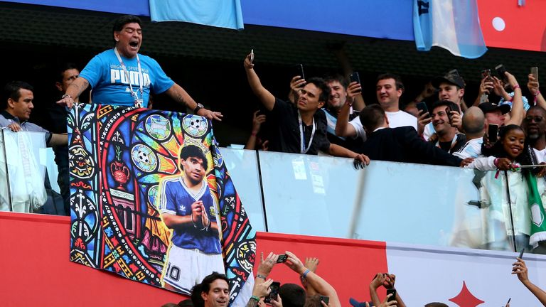 Diego Maradona during Argentina's World Cup clash with Nigeria