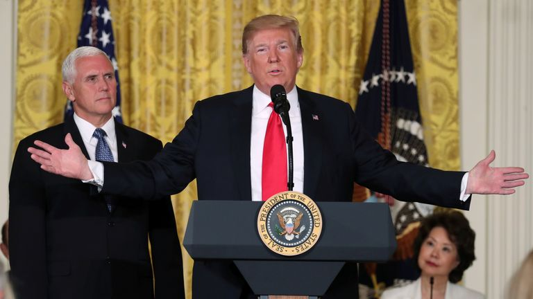 Mr Trump with Vice President Mike Pence announcing his Space Force plans