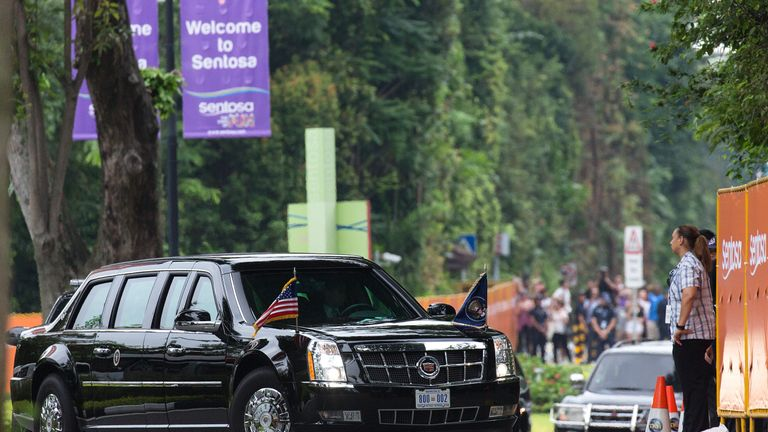 Donald Trump's motorcade arrives at the Capella Hotel on Sentosa Island