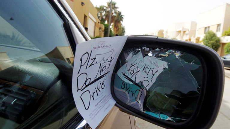 A note placed by an unknown person on female driver Azza Al Shmasani's car, is pictured in Saudi Arabia June 22, 2011. Picture taken june 22, 2011. REUTERS/Fahad Shadeed/File photo