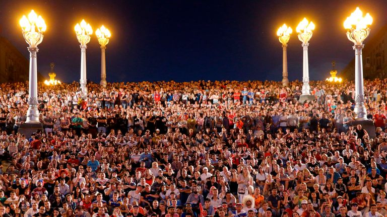 English football fans watch Tunisia and England play in the 2018 World Cup at the Volgograd Arena