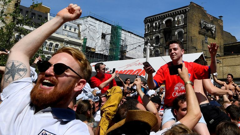 England fans in London celebrate as the team scores