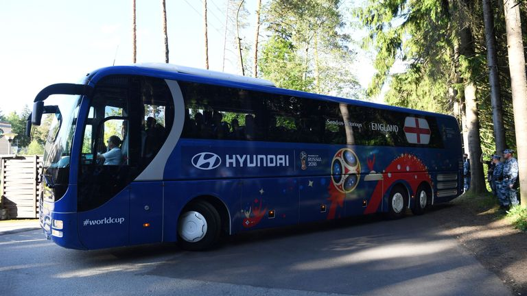 The England squad arrive at the team hotel in Repino, Russia