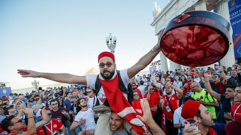 Tunisia fans gather in Volgograd