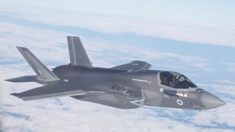 The Royal Air Force's first delivery of F35B aircraft fly from Marine Corps Air Station Beaufort in the U.S. towards their new base RAF Marnham