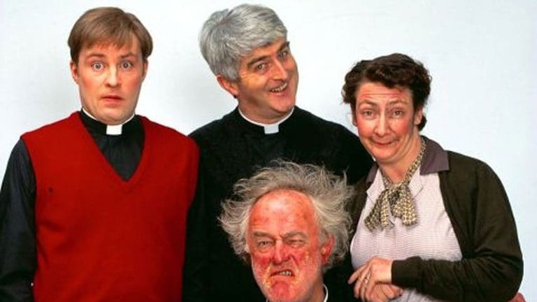 The cast from the TV series Father Ted. Credit: Channel 4