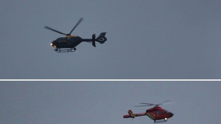 The air ambulance was scene hovering over the property
