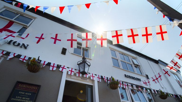 A Manchester pub is bedecked with England bunting for the Cup