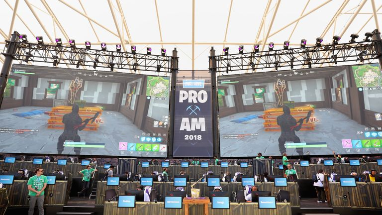 during the Epic Games Fortnite E3 Tournament at the Banc of California Stadium on June 12, 2018 in Los Angeles, California.