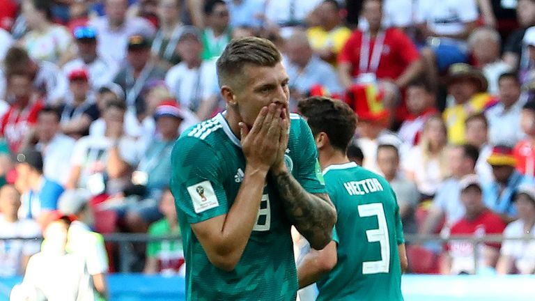 Germany's Toni Kroos after a missed chance