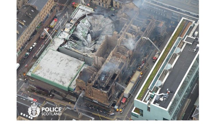 The devastating fire has left behind a charred shell and caused the roof of a neighbouring music venue to collapse