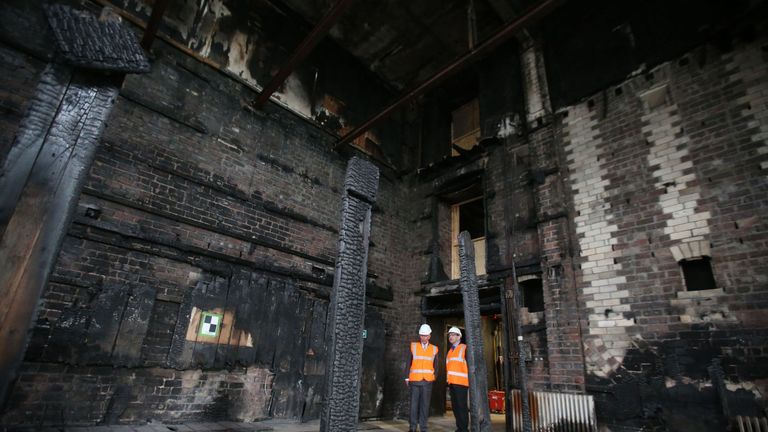The burnt out library at the Glasgow School of Art, after it was damaged by fire in 2014