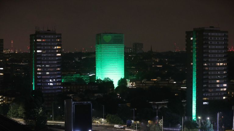 Grenfell Tower and 12 surrounding blocks have been illuminated in green