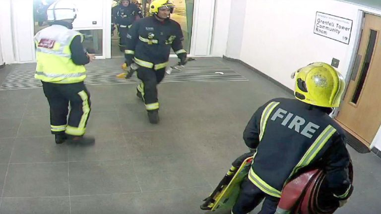 The first firefighters entering Grenfell Tower