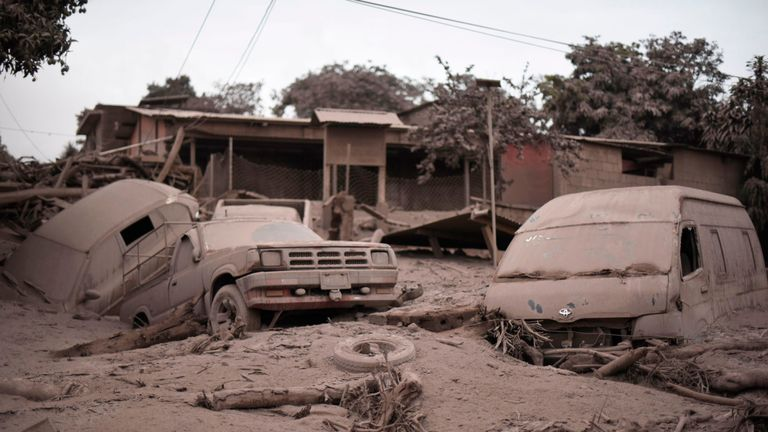 Vehicles displaced after the eruption