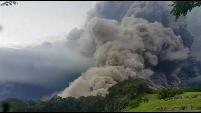 The Volcán de Fuego sent a column of smoke and ash into the sky