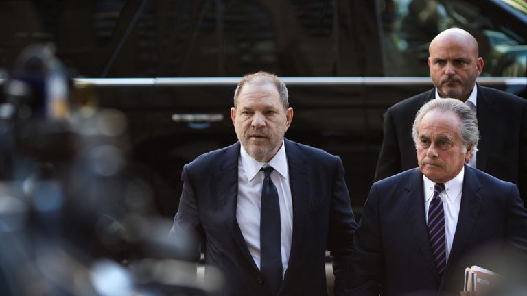 Harvey Weinstein arrives for a court appearance on June 5, 2018 in New York City. Weinstein is set to face an indictment on two counts of rape and is expected to plead not guilty. (Photo by Kevin Hagen/Getty Images)