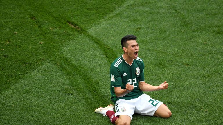Mexico's Hirving Lozano celebrates his goal against Germany