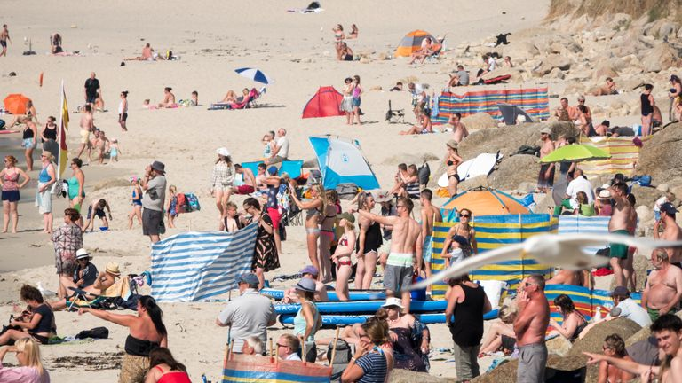 Hot weather on a beach near Penzance in Cornwall