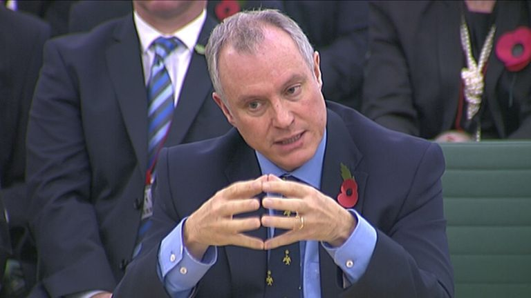 Iain Lobban, then director of GCHQ, attends an Intelligence and Security Committee hearing at Parliament in November 2013