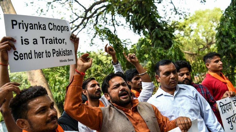 People protest, describing Priyanka Chopra as a traitor