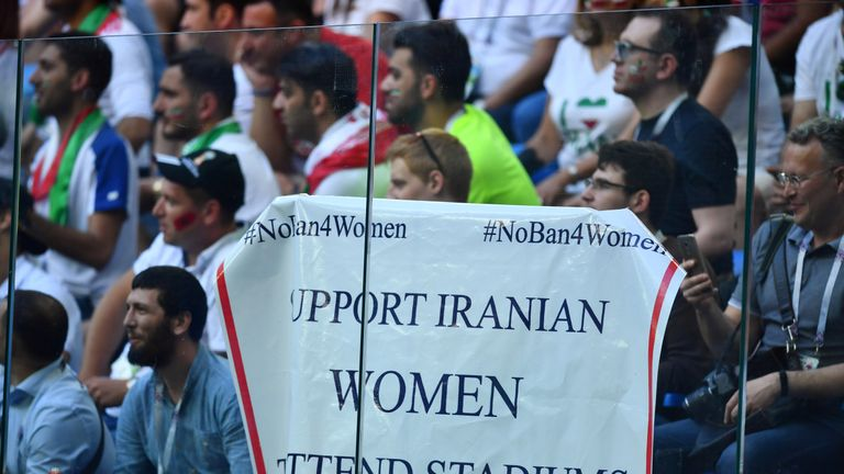 Soccer Football - World Cup - Group B - Morocco vs Iran - Saint Petersburg Stadium, Saint Petersburg, Russia - June 15, 2018 General view of a banner displayed referencing Iranian women during the match REUTERS/Dylan Martinez