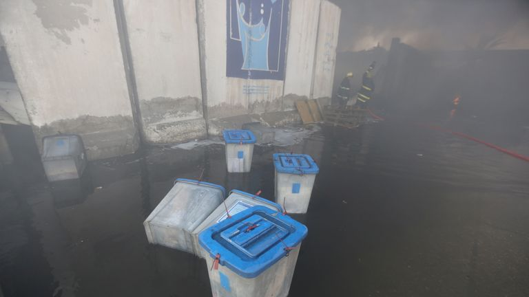 Staff rushed to save ballot boxes from the warehouse