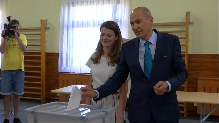 Slovenian Democratic Party leader Janez Jansa votes on election day