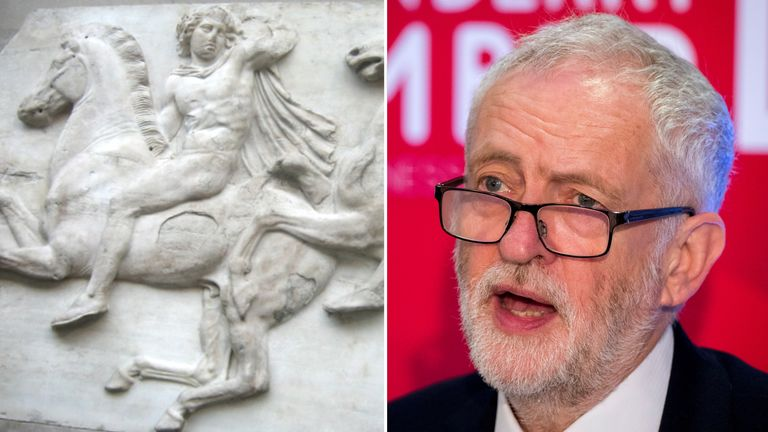Jeremy Corbyn has restated he would like the Elgin Marbles returned to Greece