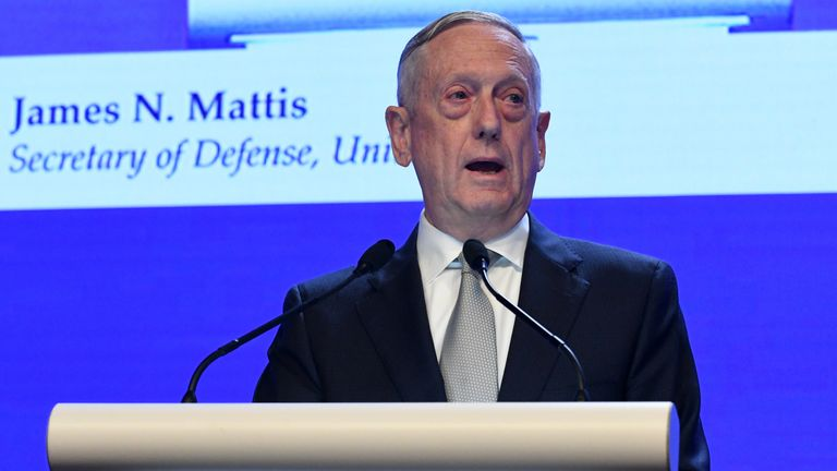 US defence secretary Jim Mattis addresses the Shangri-La Dialogue in Singapore
