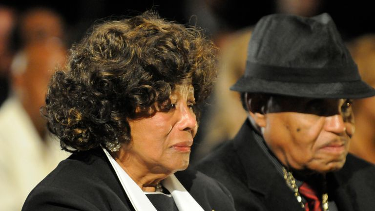 Joe Jackson and his wife Katherine at Michael's funeral