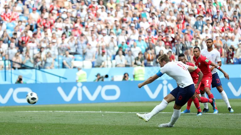 Harry Kane scores his team's fifth goal from the penalty spot