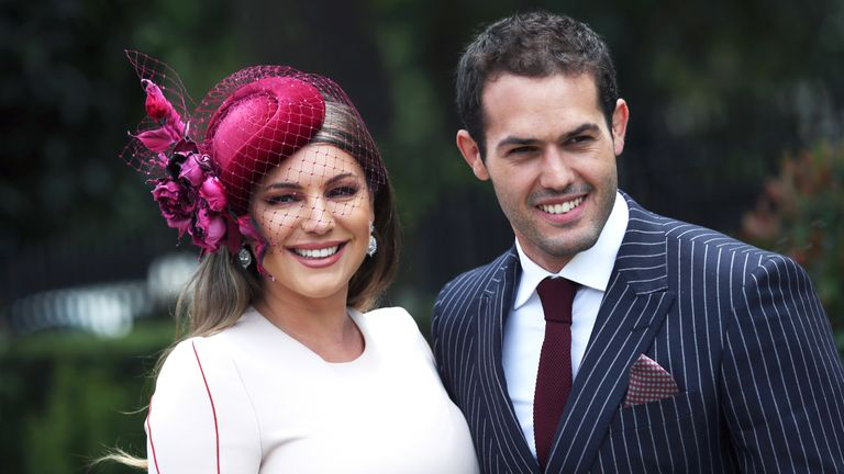 Kelly Brook and boyfriend Jeremy Parisi during day five of Royal Ascot