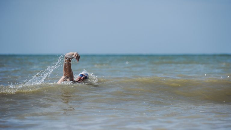 Lewis Pugh during recent training swims in The English Channel.  Pic: Kelvin Trautman