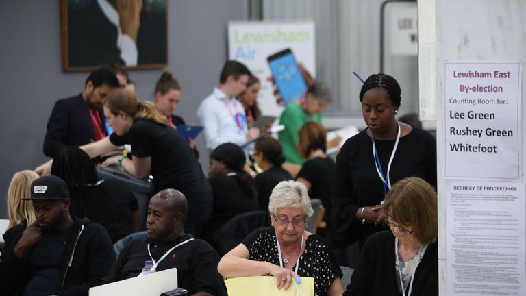 Ballot papers being counted during the Lewisham East by-election