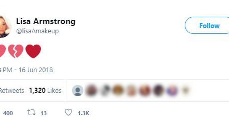 Lisa Armstrong tweet