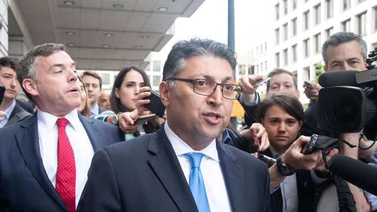 US Assistant Attorney General Makan Delrahim speaks to the press after a court ruled that the 85 billion USD merger between AT&T and Time Warner could go ahead in Washington, DC, on June 12, 2018. - A US federal judge approved the $85 billion merger of wireless and broadband giant AT&T with media-entertainment conglomerate Time Warner