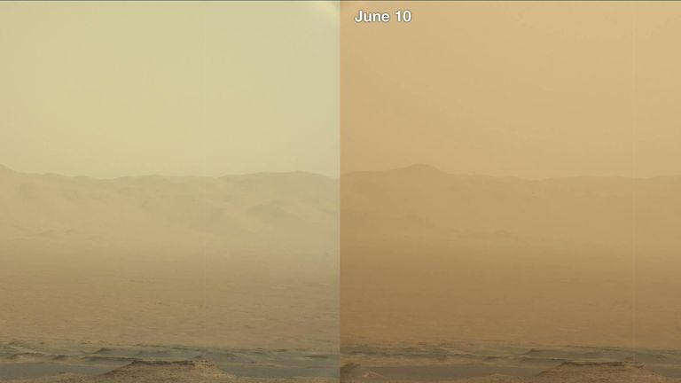 The Curiosity rover captured this image of dust forming in the atmosphere. Pic: Twitter/@MarsCuriosity