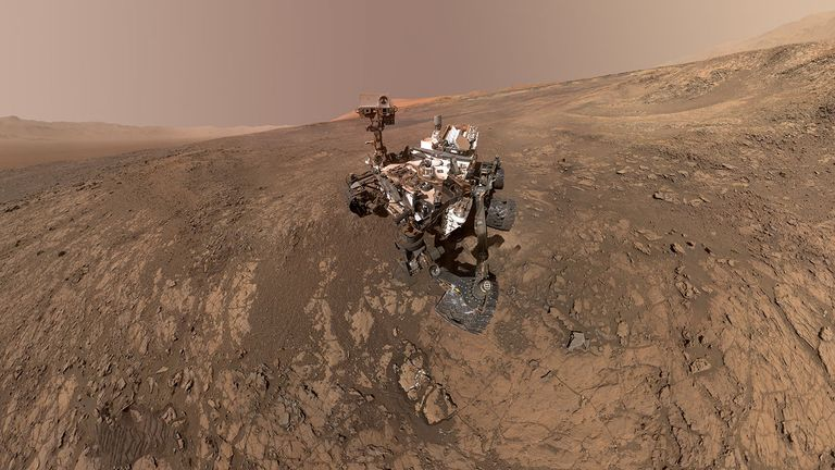 NASA's Curiosity Mars Rover snaps a self-portrait at a site called Vera Rubin Ridge in February 2018