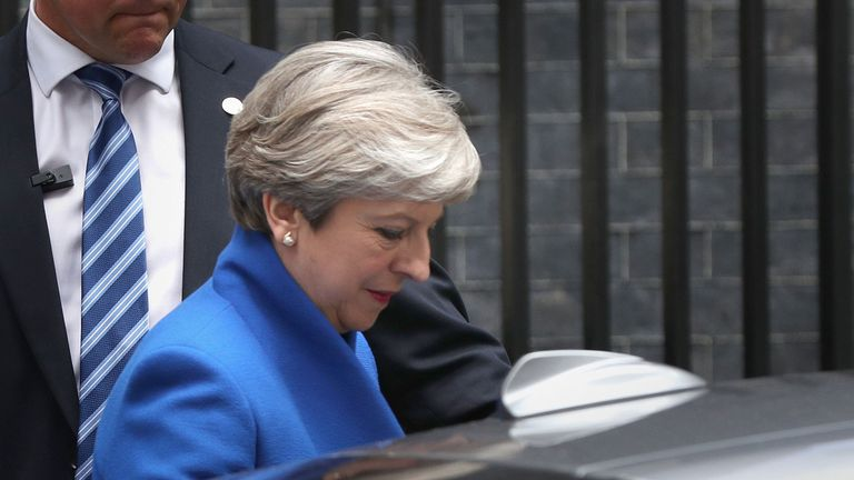 Prime Minister Theresa May leaves Downing Street