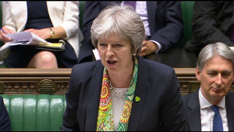 May talks to parliament about G7 summit