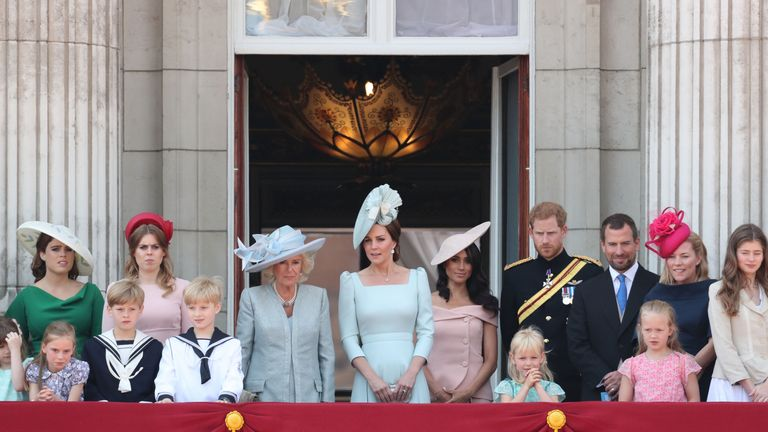 Meghan and the Royal Family on the balcony for the RAF flypast