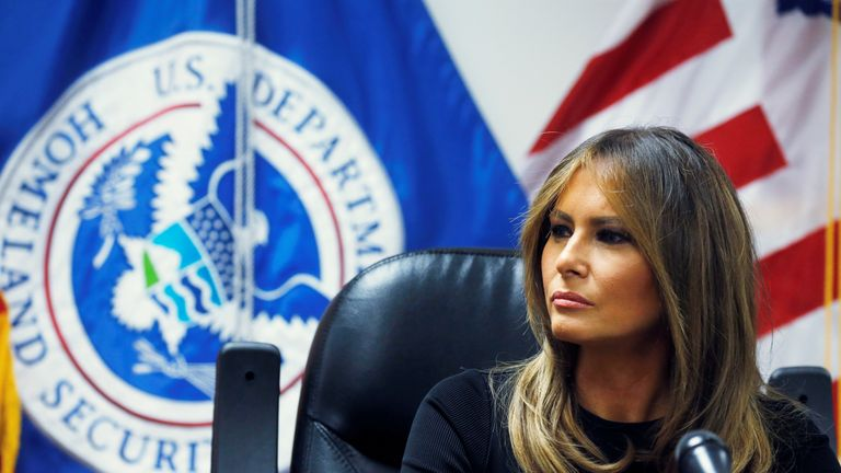 US first lady Melania Trump listens to federal immigration and law enforcement officials during a roundtable discussion as she visits a US Customs and Border Patrol facility in Tucson, Arizona