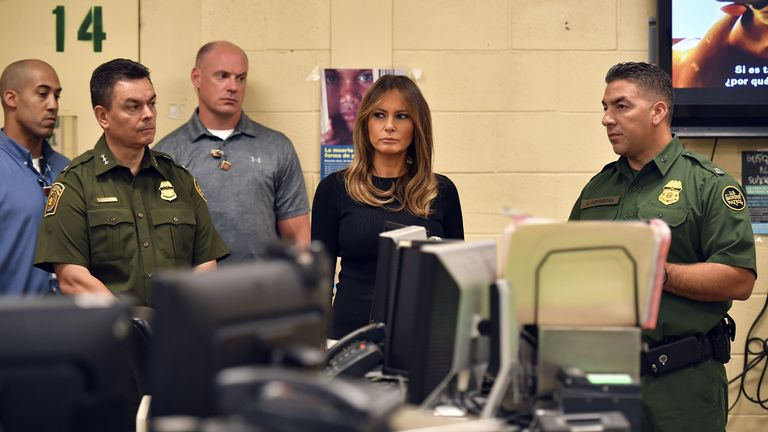 Melania Trump at a US Customs and Border Protection Facility in Tucson