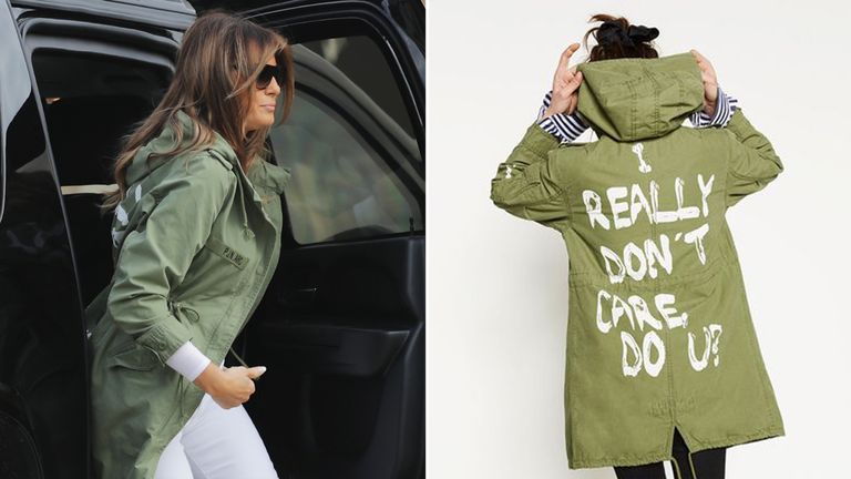 Melania Trump pictured wearing the Zara jacket. Pic: Getty/Zara