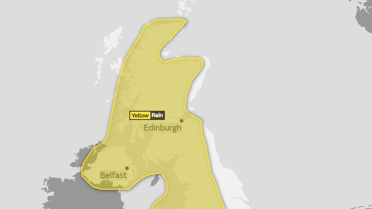 The yellow weather warning, meaning risk of flooding, is covering much of the UK. Pic: Met Office