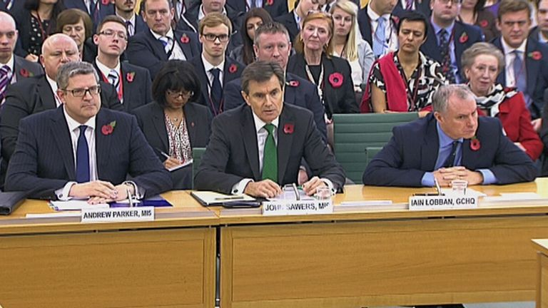 Andrew Parker, head of M15, John Sawers, then head of M16, and Iain Lobban, then GCHQ director, in 2013