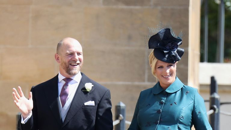 Mike and Zara Tindall attend the wedding of Prince Harry to Ms Meghan Markle at St George's Chapel, Windsor Castle on May 19, 2018 in Windsor, England