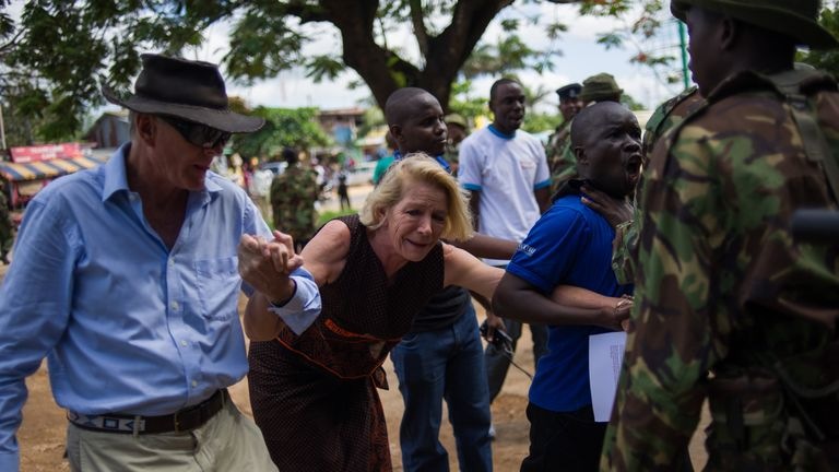 Hilary Monson, Alexander's mother, outside a police station in Kenya after marking a year from his death